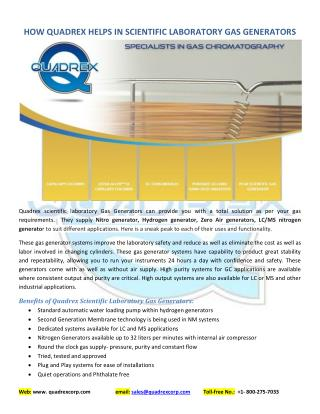 How Quadrex helps in Scientific Laboratory Gas Generators