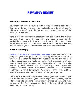 Revamply review