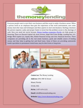 Find Online Best Money Lending Companies Florida