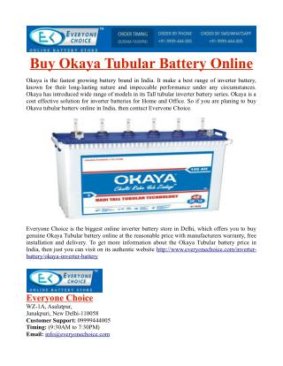 Buy Okaya Tubular Battery Online