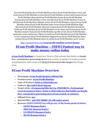 eCom Profit Machine Detail Review and eCom Profit Machine $22,700 Bonus
