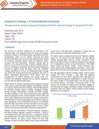 Growing Demand from Auto OEM to Lead Global Industrial Coatings Market Growth with 5.7% CAGR, to Reach 25 Billion Ltr by
