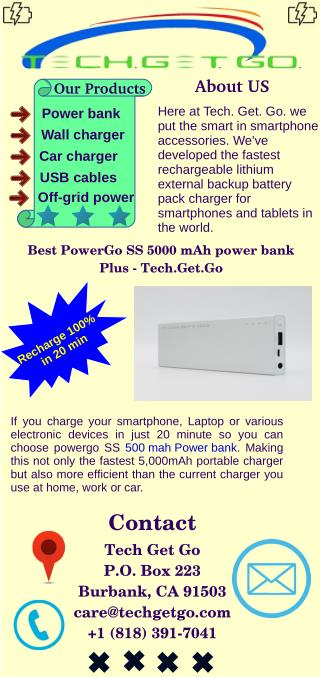 Best PowerGo ss 5000 mah Power Bank Plus-Tech.Get.Go