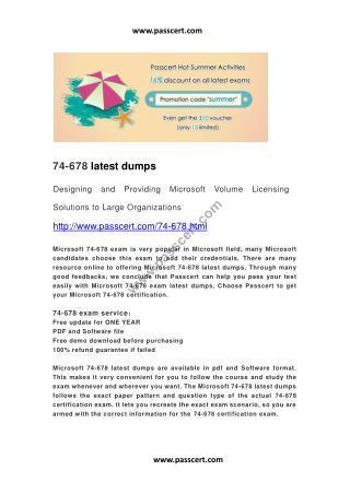 Microsoft 74-678 latest dumps