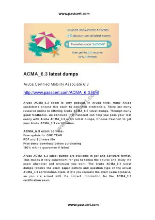Aruba ACMA_6.3 latest dumps