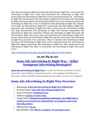 Insta Ads Advertising In Right Way Review – (Truth) of Insta Ads Advertising In Right Way and Bonus