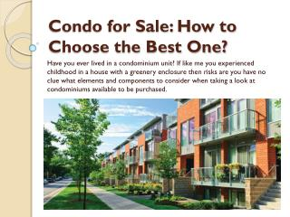Condo for Sale: How to Choose the Best One?