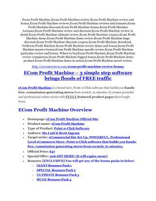 eCom Profit Machine review and eCom Profit Machine $11800 Bonus & Discount
