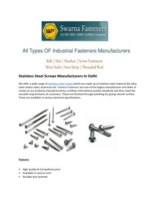 Stainless Steel Screw Manufacturers Delhi