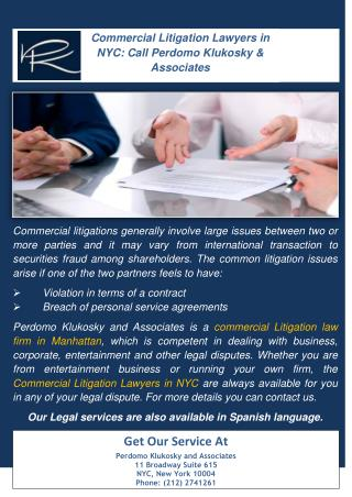Commercial Litigation Lawyers in NYC: Call Perdomo Klukosky & Associates