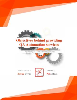Objectives behind providing QA Automation services
