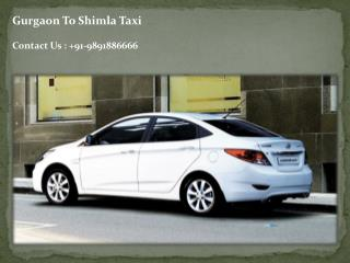 Online Taxi Rental From Gurgaon to Shimla