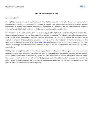 All About HR Webinars