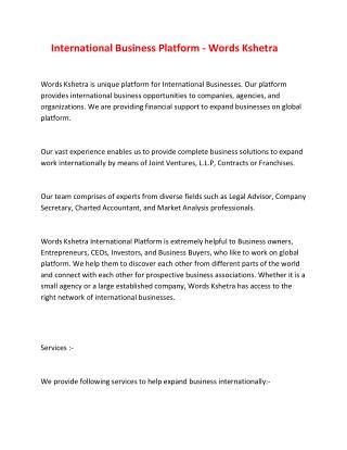 International Business Platform - Words Kshetra