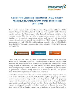 Challenges and Promises of Lateral Flow Diagnostic Tests Market