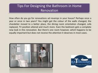 Tips For Designing the Bathroom in Home Renovation