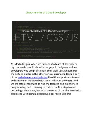 Characteristics of a Good Developer