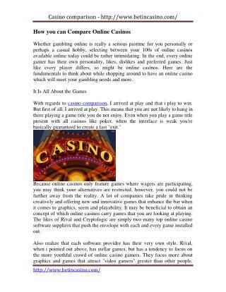 compare online casino