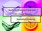 Community Development Block Grant   CDBG, Disaster Recovery