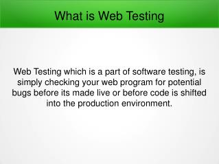 What is Web Testing?