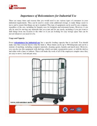 Importance of Rolcontainers for Industrial Use