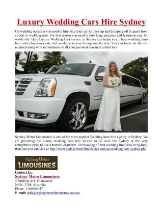 Luxury Wedding Cars Hire in Sydney