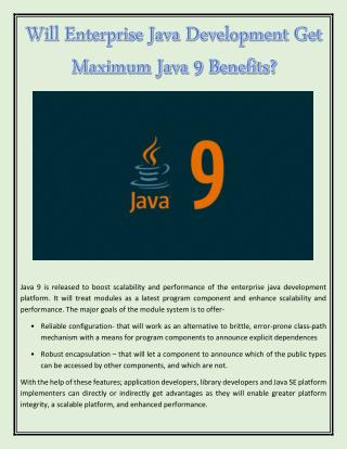 Will Enterprise Java Development Get Maximum Java 9 Benefits?