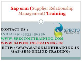 Sap srm (supplier relationship management) online training| online training sap srm