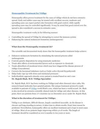 Homeopathic treatment for vitiligo