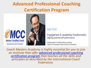Advanced Professional Coaching Certification Program