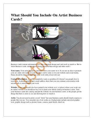 What Should You Include On Artist Business Cards?