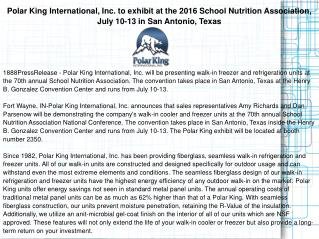 Polar King International, Inc. to exhibit at the 2016 School Nutrition Association, July 10-13 in San Antonio, Texas