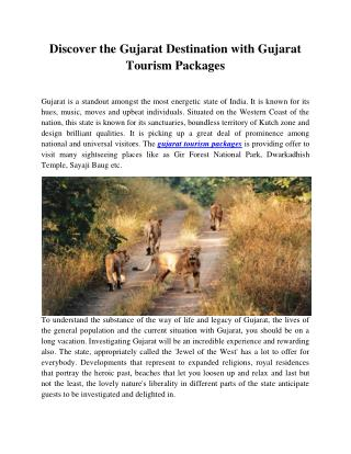 Discover the Gujarat Destination with Gujarat Tourism Packages