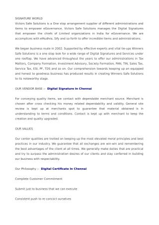 Digital Signature in Chennai, Digital Certificate in Chennai