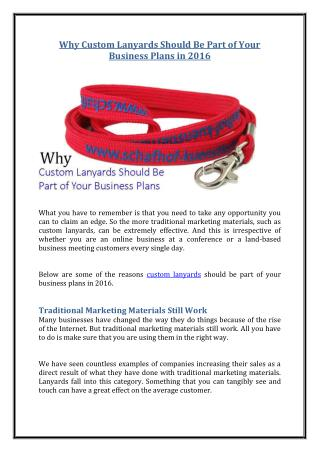 Why Custom Lanyards Should Be Part of Your Business Plans in 2016