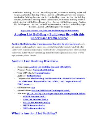 Auction List Building review - EXCLUSIVE bonus of Auction List Building