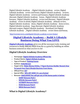 Digital Lifestyle Academy review- Digital Lifestyle Academy $27,300 bonus & discount