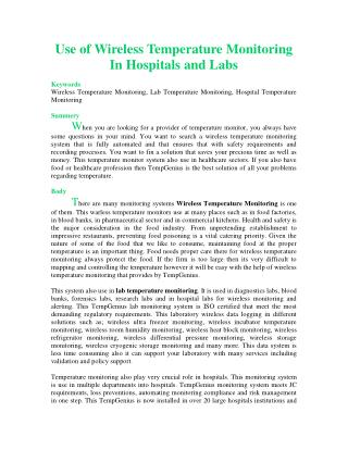 Use of Wireless Temperature Monitoring In Hospitals and Labs