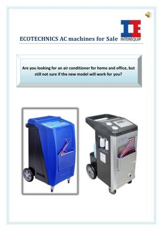 Ecotechnics AC machines for Sale