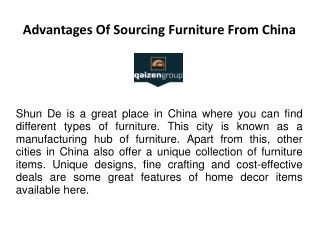 Advantages of Sourcing Products from China