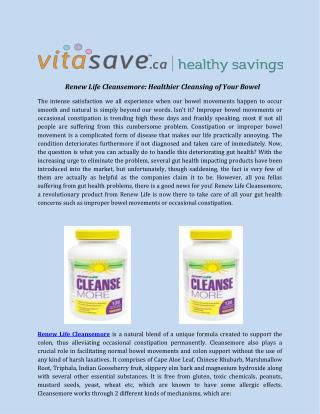 Renew Life Cleansemore: Healthier Cleansing of Your Bowel