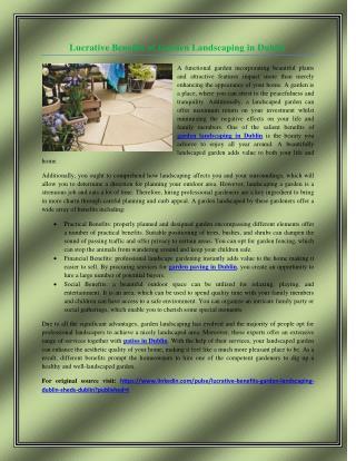 Lucrative Benefits of Garden Landscaping in Dublin