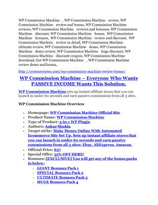 WP Commission Machine review demo and premium bonus