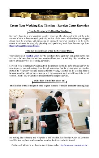 Create Your Wedding Day Timeline - Roselyn Court Essendon