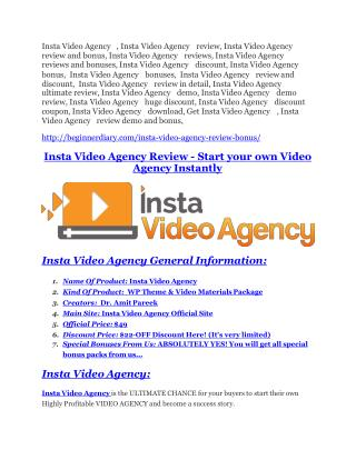 Insta Video Agency Reviews and Bonuses-- Insta Video Agency