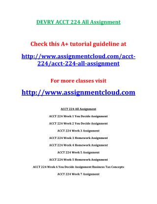 DEVRY ACCT 224 All Assignment