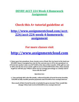 DEVRY ACCT 224 Week 4 Homework Assignment