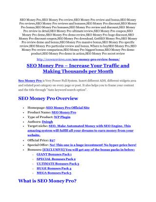 SEO Money Pro Review - SEO Money Pro DEMO & BONUS