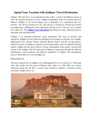 Spend Your Vacation with Jodhpur Travel Destination.pdf