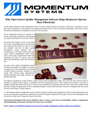 Why Open Source Quality Management Software Helps Businesses Operate More Effectively!